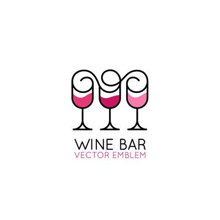 Elemento de diseño de logotipo vectorial e icono para envases y etiquetas de vino: copa de vino, uvas y hojas