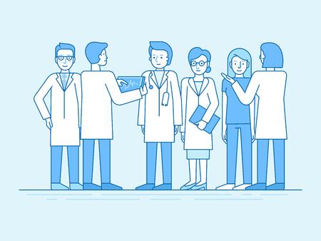 Ilustracja wektorowa w stylu liniowej płaskiej i kolorze niebieskim - zespół medyczny - grupa lekarzy i pielęgniarek stojących razem i omawiających opiekę zdrowotną i leczenie - personel szpitala