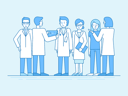 Vector illustration in flat linear style and blue color  - medical team - group of doctors and nurses standing together and discussing healthcare and treatment - hospital staff