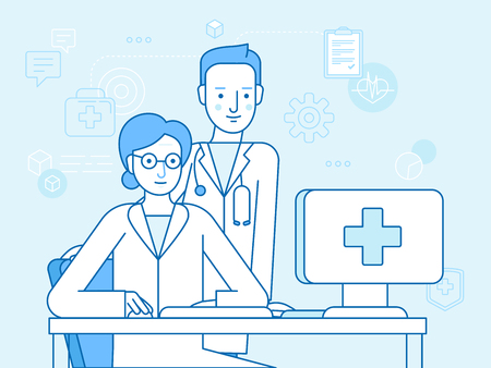 Vector illustration in linear flat style and blue colors - online and tele medicine concept -  online consultation with doctor -woman sitting at the desk with computer