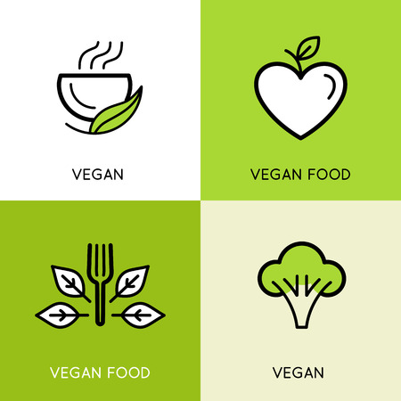 Vector logo design templates - vegan food concepts - icons and illustrations for vegetarian cafe and product packaging designs - healthy, organic and natural emblems with green leaves Standard-Bild - 106057860