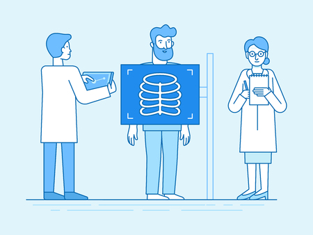 Vector illustration in flat linear style and blue color  - x-ray scan concept - medical team examining patient