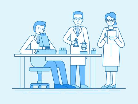 Illustration vectorielle en style linéaire plat et couleur bleue - explorations médicales et études scientifiques - équipe travaillant en laboratoire sur des tests et des analyses