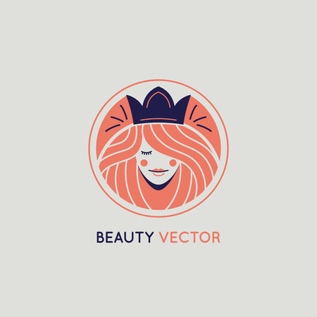 Vector logo design template in trendy linear style with female face - abstract beauty symbol for hair salon or organic cosmetics Illustration