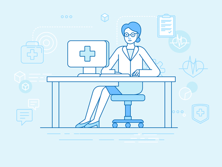 Vector illustration in linear flat style and blue colors - online and tele medicine concept -  online consultation with doctor -man sitting at the desk with computer