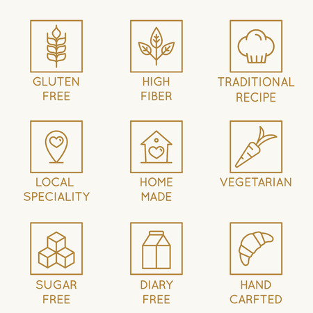 Vector set of design elements, logo design template, icons and badges for natural and organic bakery and healthy food products  in trendy linear style - gluten free, high fiber, traditional recipe, local speciality, home made, vegetarian, sugar free
