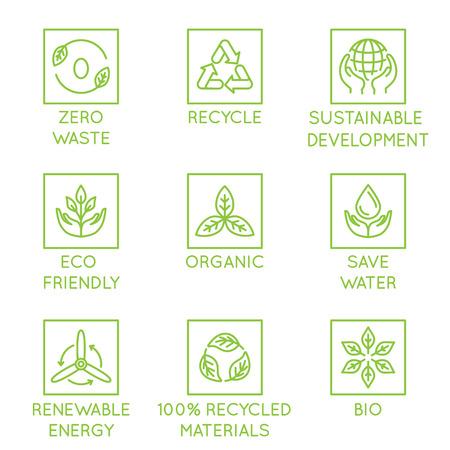 Insieme di vettore di elementi di design, modello di progettazione del logo, icone e distintivi per prodotti ecologici naturali e biologici in stile lineare alla moda: zero rifiuti, riciclo, sostenibile, sviluppo, eco-friendly, organico, risparmio idrico, energia rinnovabile Logo