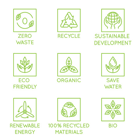 Vector conjunto de elementos de diseño, plantilla de diseño de logotipo, iconos e insignias para productos ecológicos naturales y orgánicos en un estilo lineal moderno: cero residuos, reciclaje, desarrollo sostenible, ecológico, orgánico, ahorro de agua, energía renovable Logos