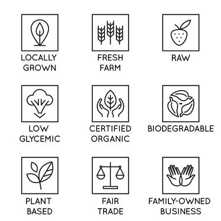 Insieme di vettore di elementi di design, modello di progettazione del logo, icone e distintivi per cosmetici naturali e biologici e prodotti in stile lineare alla moda - coltivato localmente, fattoria fresca, crudo, glicemico basso, certificato biologico, biodegradabile, a base vegetale, commercio equo e solidale