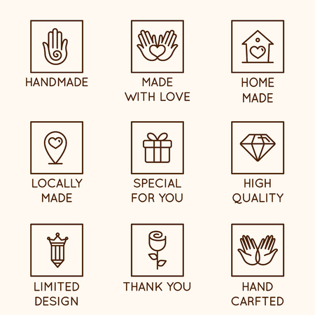 Vector set of design elements, logo design template, icons and badges for hand made goods and products in linear style - handmade, made with love, home made, locally made, special for you, high quality, limited design, hand crafted