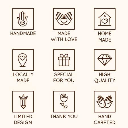 Insieme di vettore di elementi di design, modello di progettazione del logo, icone e distintivi per beni e prodotti fatti a mano in stile lineare: fatti a mano, fatti con amore, fatti in casa, fatti localmente, speciali per te, alta qualità, design limitato, fatti a mano