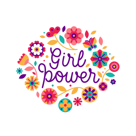 Vector illustration in simple style with hand-lettering phrase girl power  and flowers - stylish print for poster or t-shirt - feminism quote and woman motivational slogan