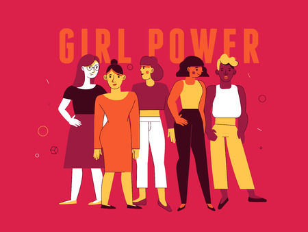 Vector illustration in trendy flat linear minimal style  with female characters - girl power and feminism  concept  - diverse women standing together Ilustração