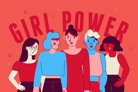 Illustrazione vettoriale in stile minimal lineare piatto alla moda con personaggi femminili - concetto di potere e femminismo della ragazza - diverse donne che stanno insieme Vettoriali