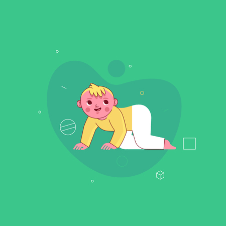 Vector illustration in trendy flat linear style - happy kid - cartoon character for infographics, banners, greeting card and cover and hero images