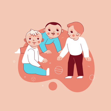 Vector illustration in trendy flat linear style - happy children playing together  - cartoon characters for infographics, banners, greeting card and cover and hero images Illustration