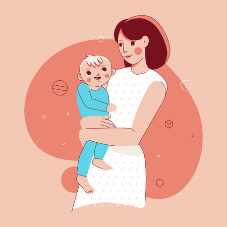 Vector illustration in trendy flat linear style - happy mother and child  - cartoon characters for infographics, banners, cover and hero images