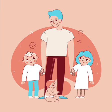 Vector illustration in trendy flat linear style - happy family and parenthood concept - happy father with three children of different age - cartoon characters for infographics, banners, cover and hero images Çizim