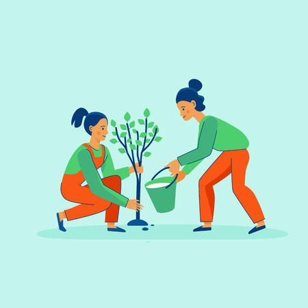 Vector illustration in trendy flat linear style - gardening concept  - cartoon female characters for infographics, banners planting and watering tree