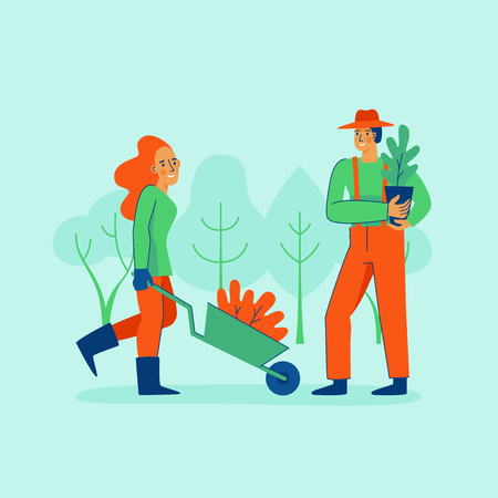 Vector illustration in trendy flat linear style - gardening concept  - cartoon female and male characters for infographics, banners planting and watering tree Ilustração