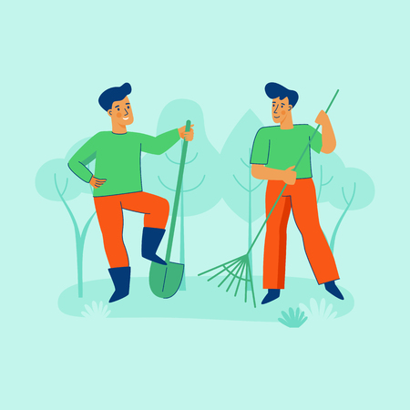 Vector illustration in trendy flat linear style - gardening concept  - cartoon male characters for infographics, banners