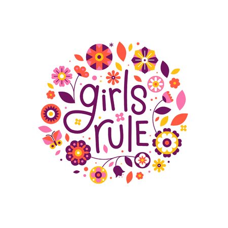 Vector illustration with hand-lettering text girls rule Illustration