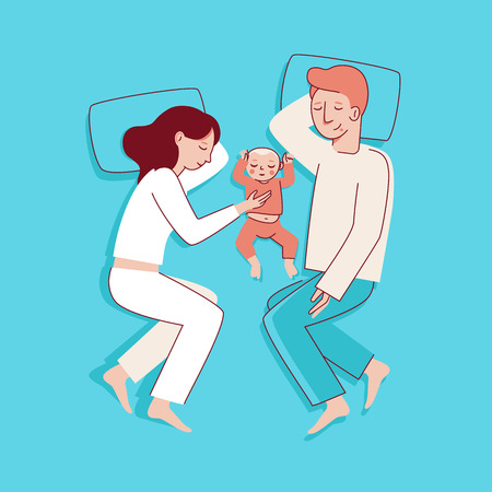 Vector illustration in trendy flat linear style - happy family and parenthood concept - happy mother and father with a baby seeping  - cartoon characters for infographics, banners, cover and hero images