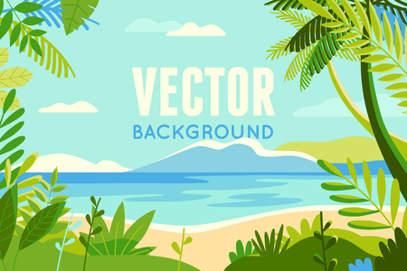 Vector illustration in trendy flat and linear style - background with copy space for text - plants, leaves, palm trees and sky - beach landscape - background for banner, greeting card, poster and advertising - summer vacation concept