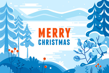 Vector illustration in trendy flat  style - background with copy space for text - winter landscape - background for banner, greeting card, poster and advertising - happy new year and Christmas holidays Çizim