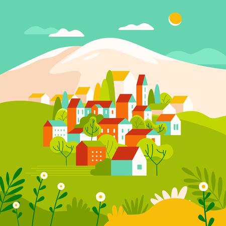 Vectorillustratie in eenvoudige minimale geometrische vlakke stijl - stadslandschap met gebouwen, heuvels en bomen - abstracte achtergrond voor kopafbeeldingen voor websites, banners, covers