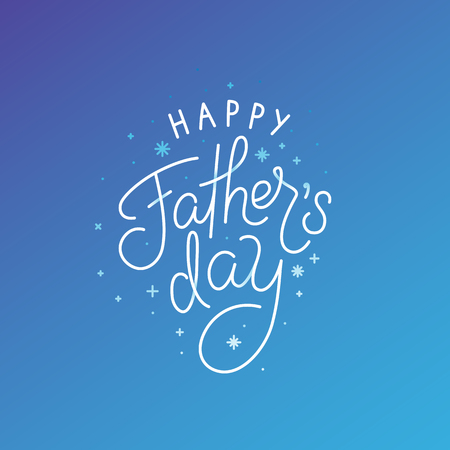 Vector illustration in flat linear style with hand lettering text - happy fathers day - greeting card design template