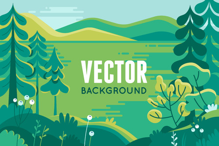 Vector illustration in trendy flat style - background with copy space for text - plants, trees, leaves and forest landscape - background for banner, greeting card, poster and advertising