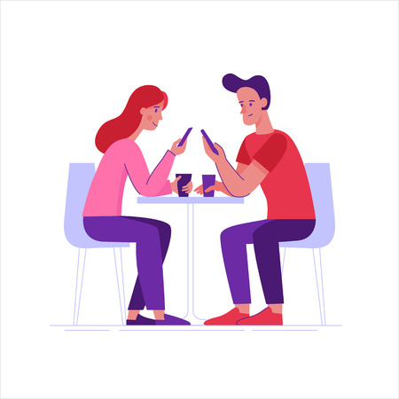Vector illustration in flat linear style -  friends drinking coffee and chatting using mobile phones - cartoon characters  sitting at table in the cafe Vectores