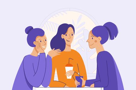 ilustración del vector en estilo lineal plana - amigos femeninos bebiendo café y chat - personajes de dibujos animados sentado en la mesa en el café Ilustración de vector