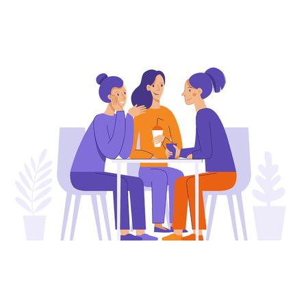 Illustration vectorielle dans un style linéaire plat - amis buvant du café et bavardant - personnages de dessins animés assis à table dans le café