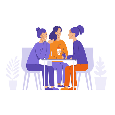 Vector illustration in flat linear style -  friends drinking coffee and chatting  - cartoon characters  sitting at table in the cafe Stock Illustratie