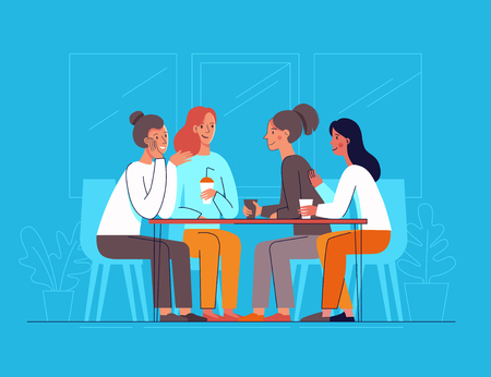 Vector illustration in flat linear style - female friends drinking coffee and chatting - cartoon characters  sitting at table in the cafe Banque d'images - 106057906