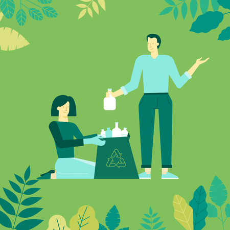 Vector illustration in flat linear style -  recycle concept - characters holding boxes and bins and collecting trash for recycling -think green infographics design elements