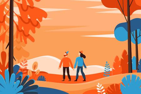 Ilustración de vector de estilo plano lineal - fondo de otoño - ilustración de paisaje con dos personajes explorando el bosque de otoño - plantilla de diseño de tarjeta de felicitación Ilustración de vector