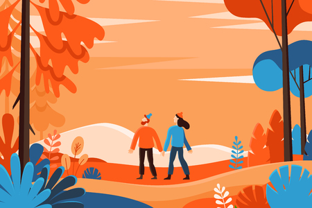 Vector illustration in flat linear style - autumn background - landscape illustration with two characters exploring autumn forest - greeting card design template Vectores