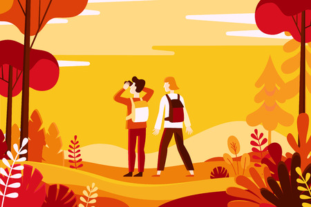 Vector illustration in flat linear style - autumn background - landscape illustration with two characters exploring autumn forest - greeting card design template 向量圖像