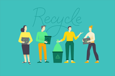 Vector illustration in flat linear style -  recycle concept - characters holding boxes and bins and collecting trash for recycling - zero waste infographics design elements Illustration