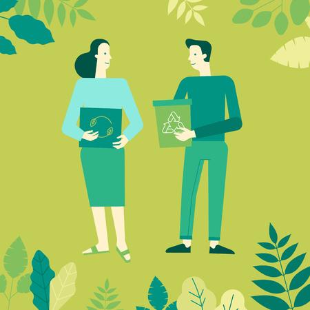 Illustration vectorielle dans un style linéaire plat - concept de recyclage - personnages tenant des boîtes et des bacs et collecte des ordures pour le recyclage - pensez aux éléments de conception infographie vert Vecteurs