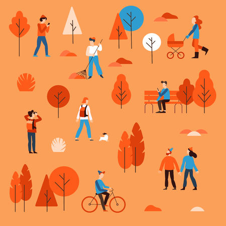 Vector illustration in flat simple linear style -  people walking in the public autumn park - characters enjoying fall - man with mobile phone on the bench, guy riding bicycle, couple holding hands, mother with a stroller