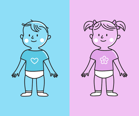 Vector illustration in flat linear style -  boy and girl characters - prints and mascots for kids and children, greeting cards Ilustrace