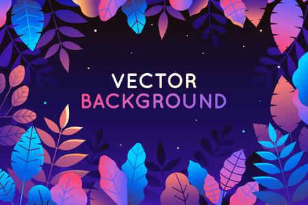 Ilustración de vector en estilo plano de moda y colores degradados vibrantes brillantes - fondo con espacio de copia para texto - plantas, hojas, árboles y cielo - fondo para banner, tarjeta de felicitación, cartel y publicidad - bosque mágico