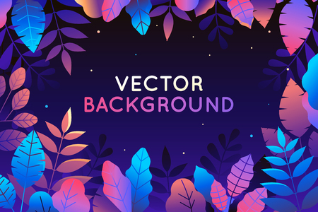 Vector illustration in trendy flat style and bright vibrant gradient colors - background with copy space for text - plants, leaves, trees and sky - background for banner, greeting card, poster and advertising - magic forest