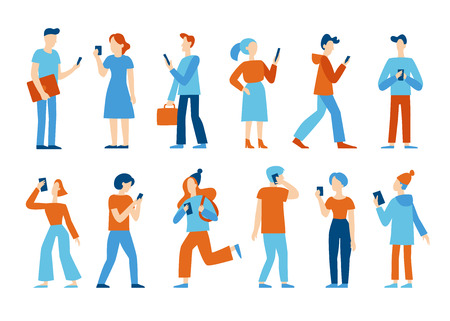 Vector illustration in flat style -  men and women walking and holding mobile phones - smartphone addiction concept - people chatting, texting, reading newsfeed on social media