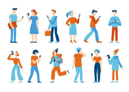 Vektorgrafik im flachen Stil - Männer und Frauen, die Mobiltelefone gehen und halten - Smartphone-Suchtkonzept - Leute, die chatten, SMS schreiben, Newsfeed in sozialen Medien lesen Vektorgrafik