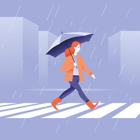 Vector illustration in flat simple style -  autumn concept - girl walking in the rain in orange coat with umbrella Standard-Bild - 110276056
